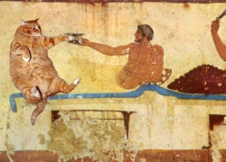 Symposium, north wall, Tomb of the Diver, Paestum / ,  ,  ,   