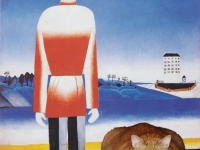 Malevich, Man on Suprematic Landscape with Suprematic Cat / ,       