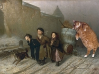 Vasily Perov, Troika. Apprentices Fetch Water with the Kind Help of Cat. / , .       .