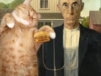Grant Wood,  American Gothic. I can has cheeseburger? /  ,     