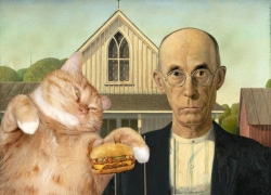 Grant Wood,  American Gothic. I can has cheeseburger?