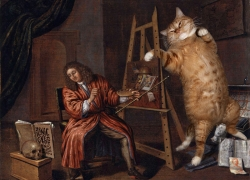 Edwaert Collier, Self-Portrait with a Vanitas and the Cat /  ,   Vanitas  