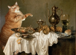 Willem Claesz Heda, Cat's Breakfast with a Crab