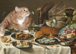 Pieter Claesz, Still Life with Turkey Pie and the Cat