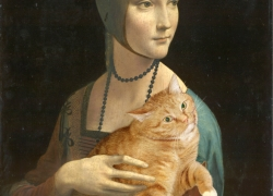 Leonardo da Vinci. Lady with a Cat pretending to be an Ermine (Portrait of Cecilia Gallerani) /   .   ,  