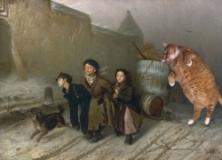 Vasily Perov, Troika. Apprentices Fetch Water with the Kind Help of Cat.