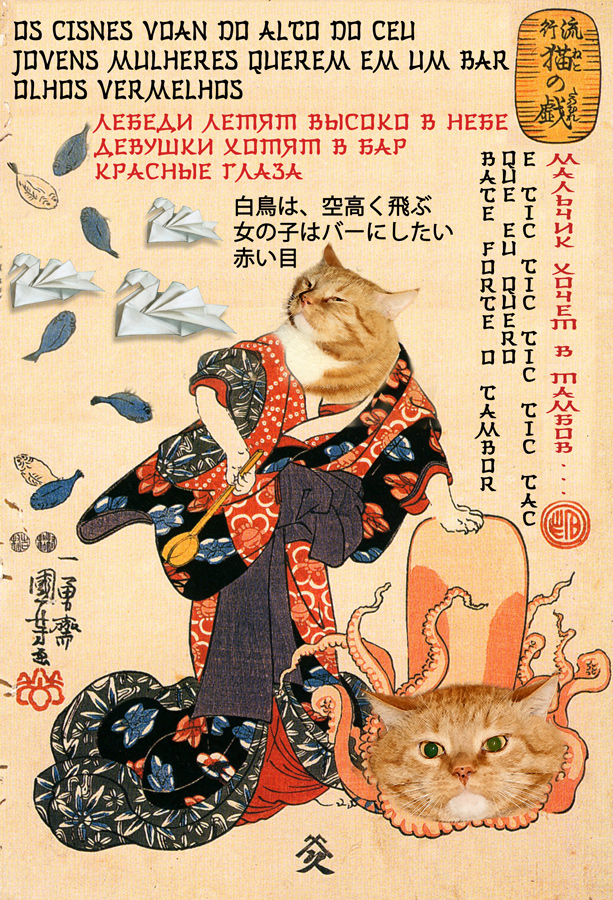 Utagawa Kuniyoshi, A cat dressed as a woman tapping the head of an octopus