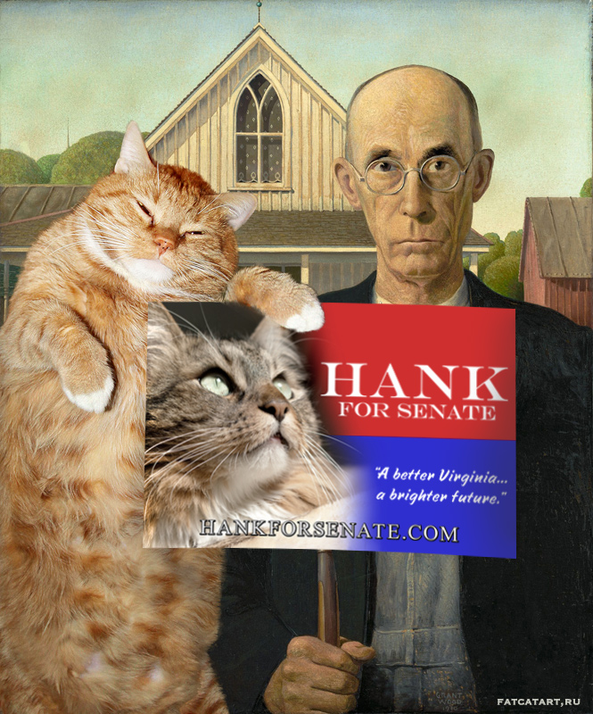 Grant Wood, Zarathustra the cat  supports Hank for Senate in American Gothic style