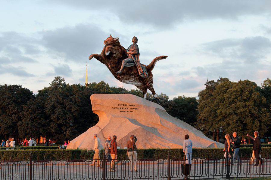 The Bronze Catman,  Peter the Great statue in Saint Petersburg