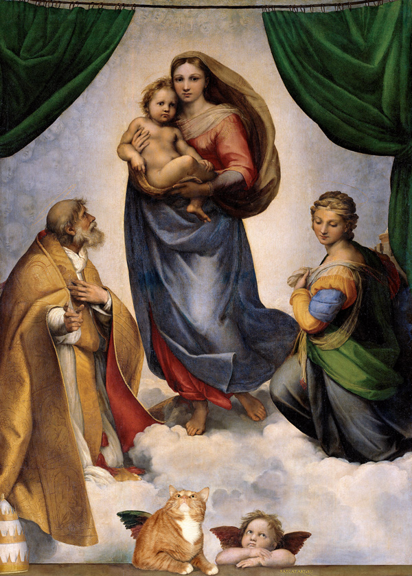 Raphael, Sistine Madonna, with the Group of Angel and Cat