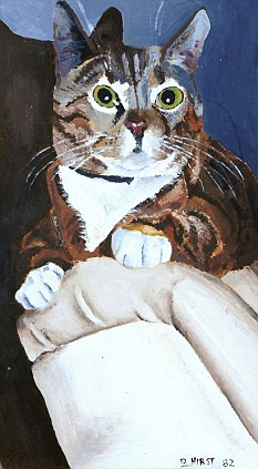 Portrait of Mindy the Cat by Damien Hirst. One can see artist's signature and date at the bottom right
