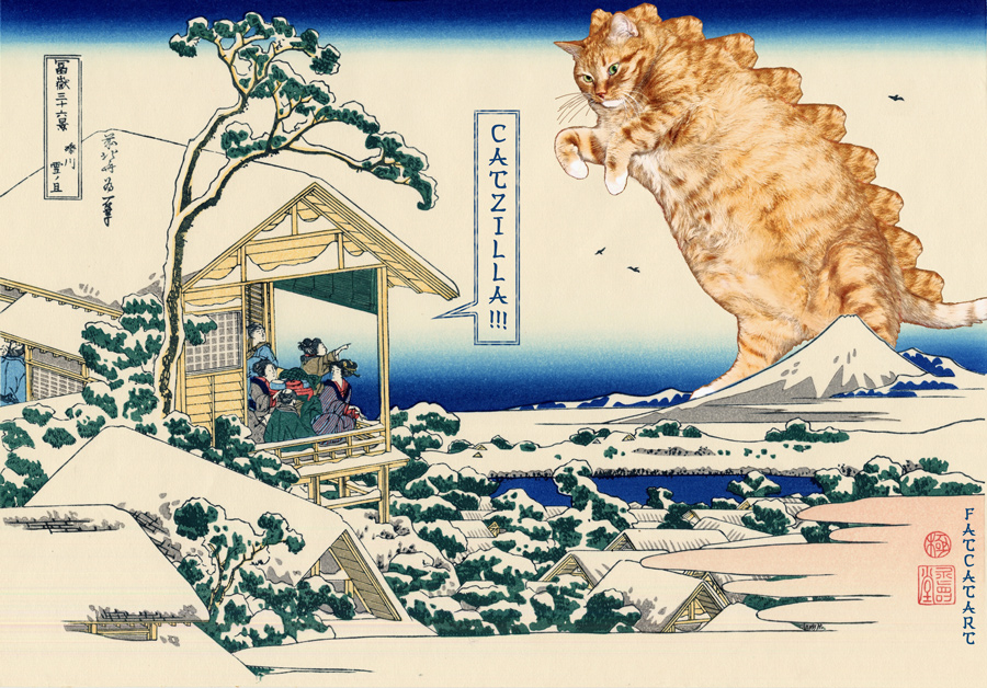 Katsushika Hokusai, Tea house at Koishikawa. The morning after a snowfall. Catzilla attacks. 36 views of Mount Fuji no 11