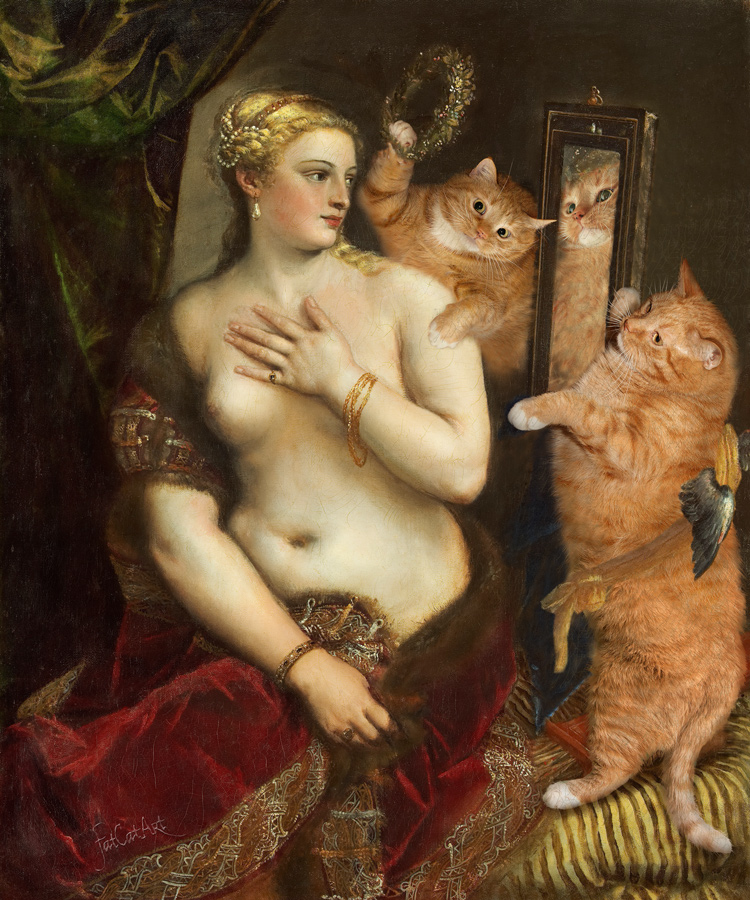 Titian, Venus with a Mirror or Venus in furs. True version. Part 2 of Venus' Selfie diptych