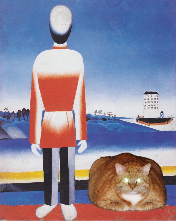 Malevich, Man on Suprematic Landscape with Suprematic Cat