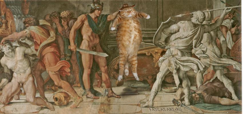 Аннибале Карраччи и Доменикино, Персей и Толстый Кот, фреска в галерее Фарнезе, Рим
