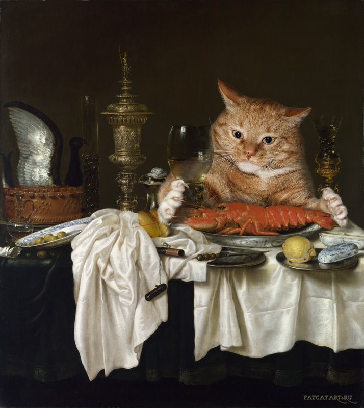 Willem Claesz Heda, Still Life with a Lobster Measured by a Cat, 1650 - 1659