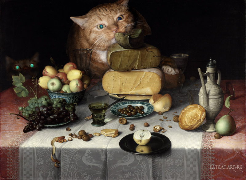 Floris van Dijck, Still Life with Cheeses and Cats
