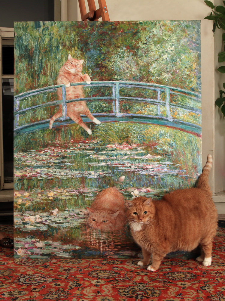 Zarathustra the cat with his life size portrait by Claude Monet