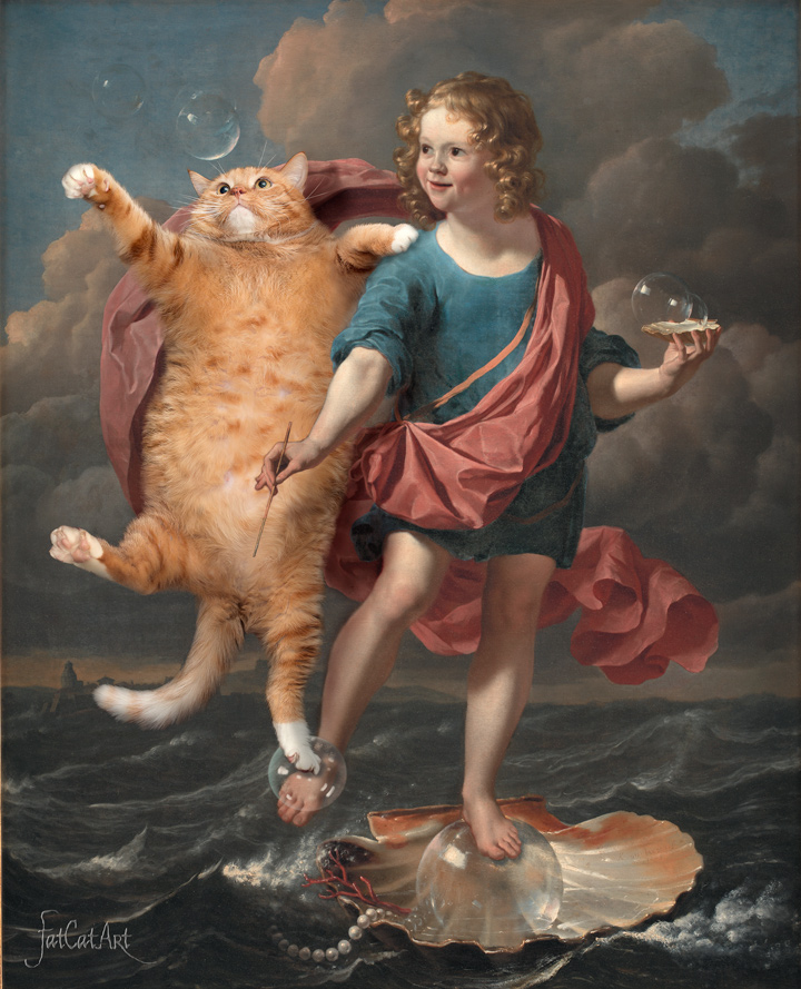 Karel Dujardin, Boy Blowing Soap Bubbles and Cat hunting for them